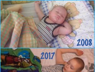 Poja lemmikasend magamiseks. :) 2008 vs. 2017
