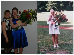 Mina õetütre 9.kl lõpetamisel (2015) ja tema minu (1999)