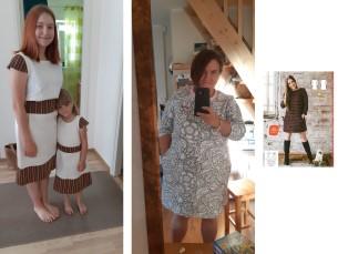 Mind inspireeris 2016/17. aasta talveajakiri. Muutsin kleiti mitmes kohas, kuid põhilõige jäi samaks. Näiteks jätsin ära varrukad, tegin kaenlaaugud väiksemaks, viimistlesin kandiga ning alla äärde lisasin rahvusliku mustriga triibukanga ja õmblesin juurde vöö. Tegin selle lõike eeskujul ligi kümme kleiti, väiksematele tüdrukutele isegi 20 kleiti, mis valmisid Kostivere Kooli mudilaskoorile laulupeo tarvis. Lõige on väga hea, selle järgi olen teinud endale veel dressikleidi ja paksu eest lahtise jaki.