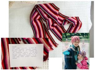 Airika saatis konkursile oma vanaema Laine tööd. Tutvustus on kirjutatud käsitsi ja näha fotol.