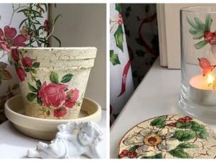 Decoupage-tehnikas klaas, lillepott ja klaasialused